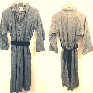 Vintage Alison Peters Gray Cotton Shirt Dress